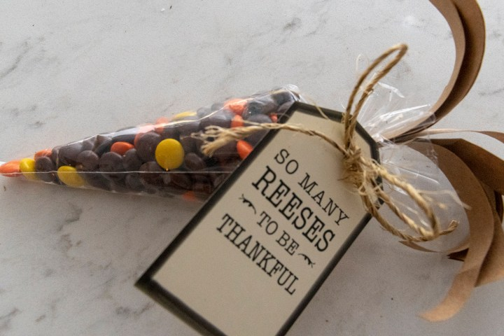 Indian corn party favor with Reese's Pieces