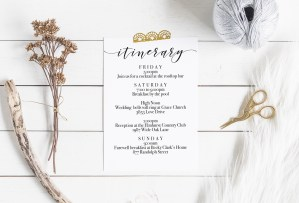 Printable Wedding Itinerary