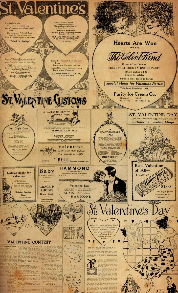 Valentine Collage Sheet with Aged Vintage Newspaper by Faking it Fabulous