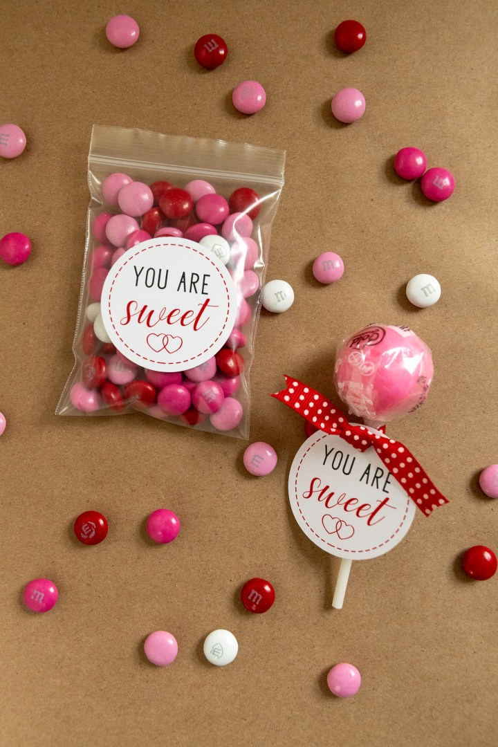 You Are Sweet: Printable Valentine's Day Gift Tags