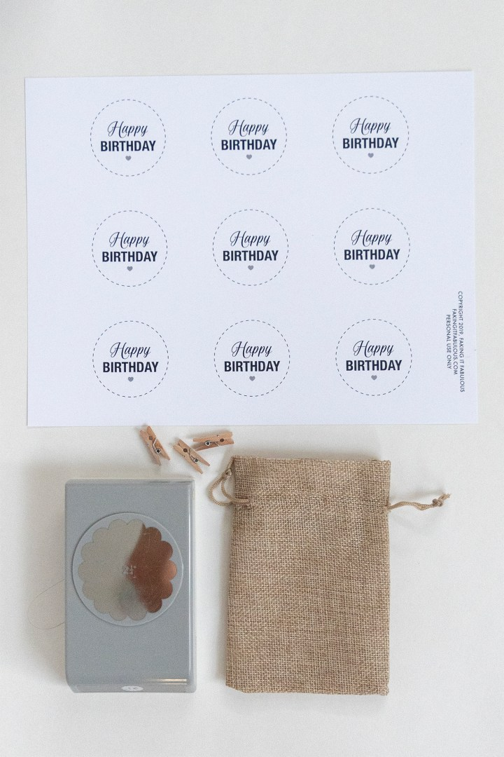 DIY happy birthday circle tags with free printable
