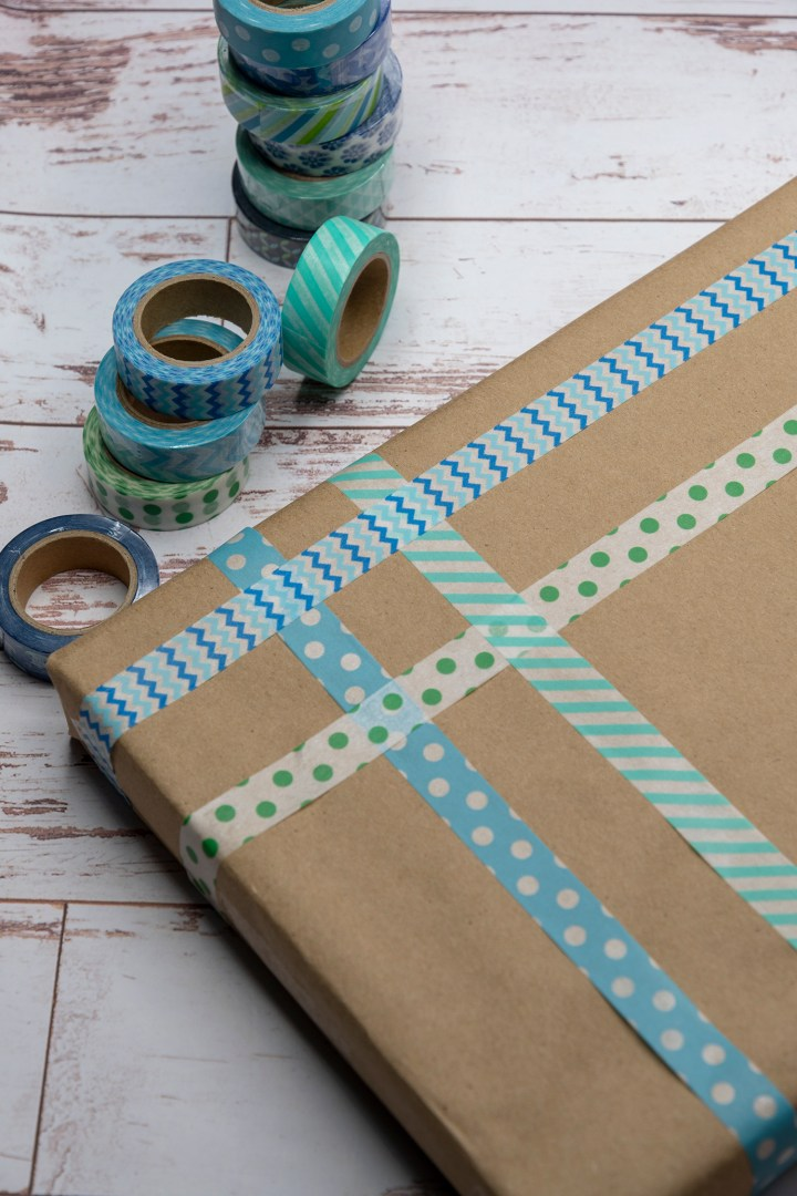 Blue and green washi tape gift wrapping