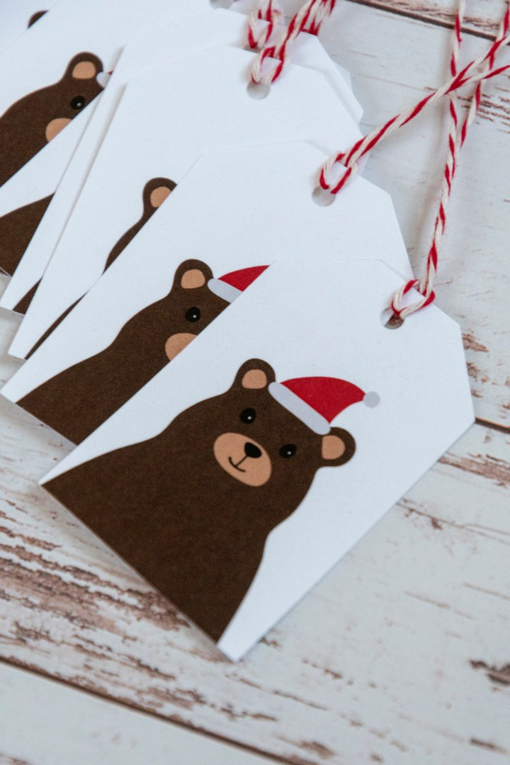 Santa Bear Free Printable Holiday Tags
