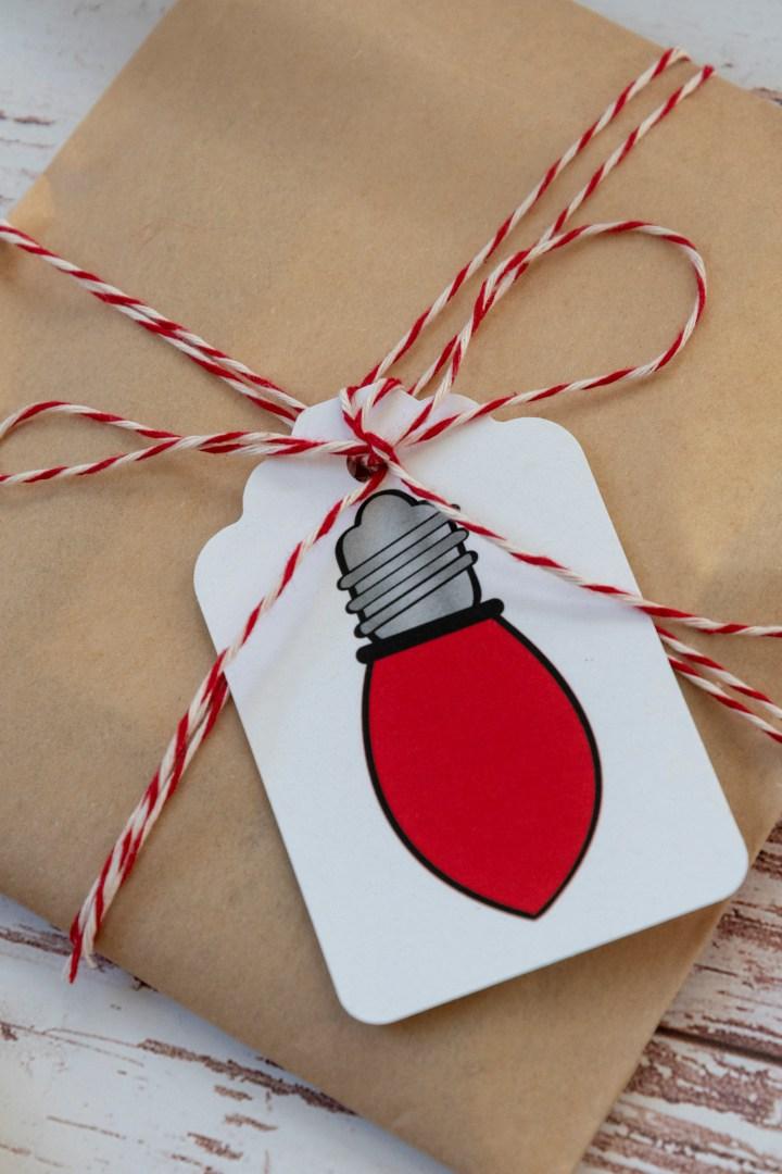 Free Printable Vintage Christmas Light Gift Tags