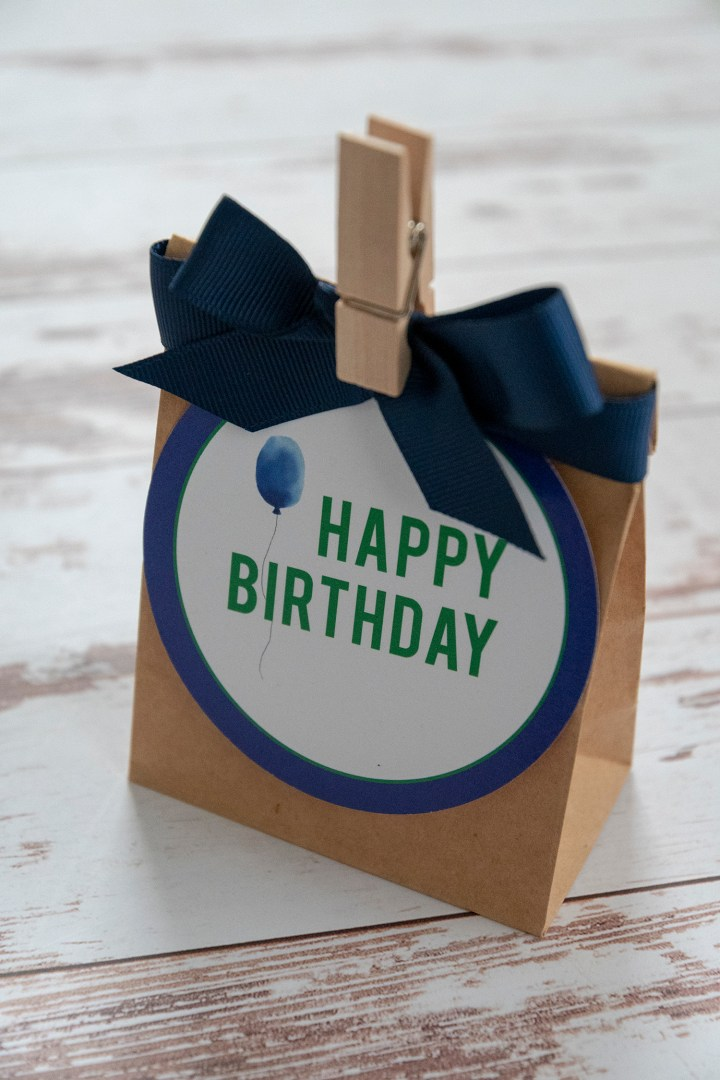 Free Printable Navy Blue and Green Happy Birthday Gift Tags