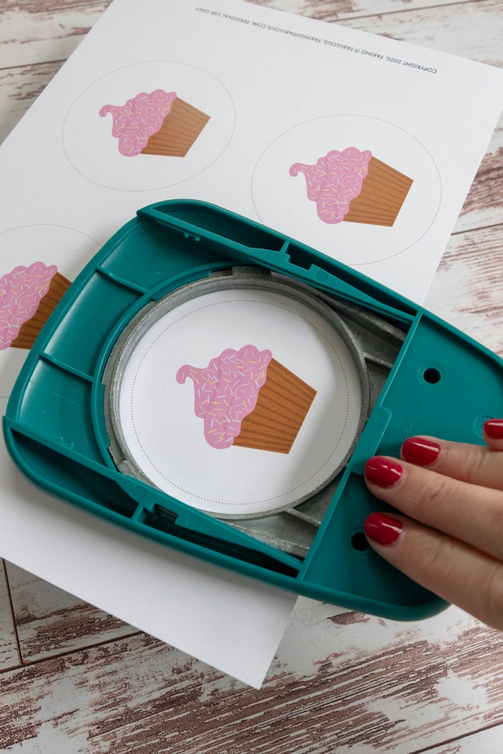 Use a 3.5 inch circle punch to cut out the cupcake favor tags