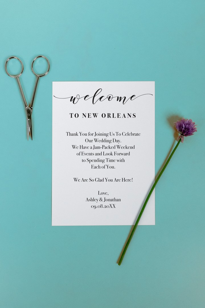 Printable & Editable Wedding Welcome Letter