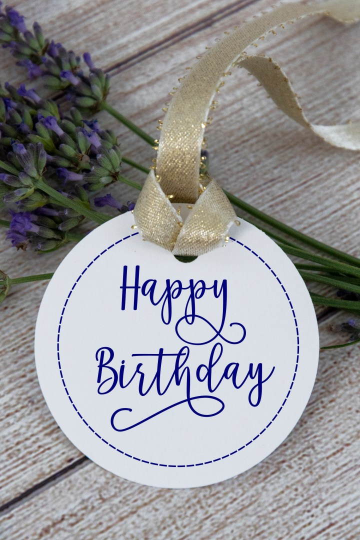 Navy Blue Happy Birthday Gift Tags