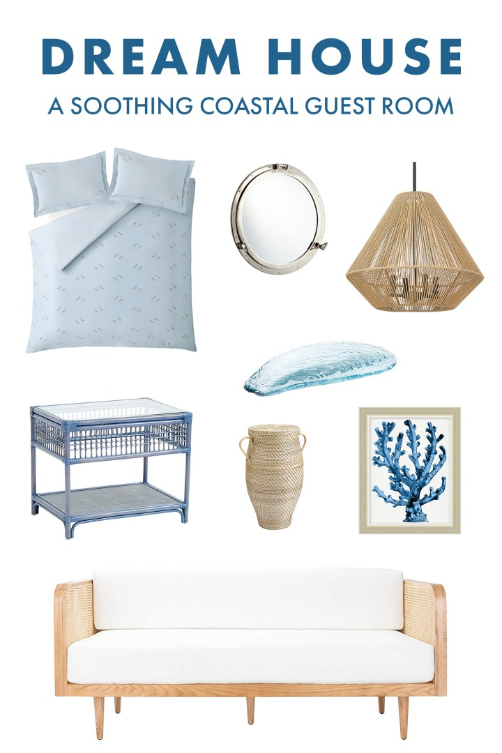 Coastal Guest Room Design Idea Board