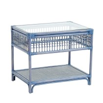Blue Rattan Nightstand