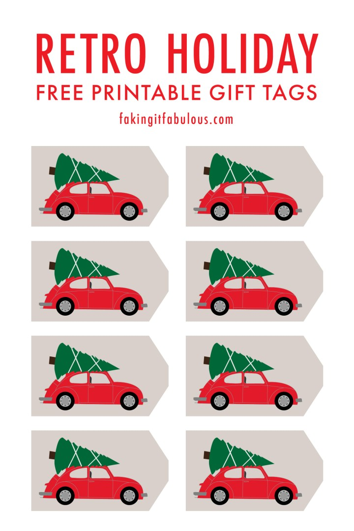 Retro Car Bringing Home the Christmas Tree Printable