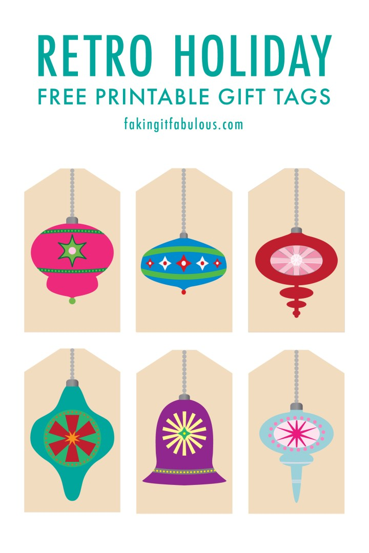 Retro Christmas Ornament Gift Tags