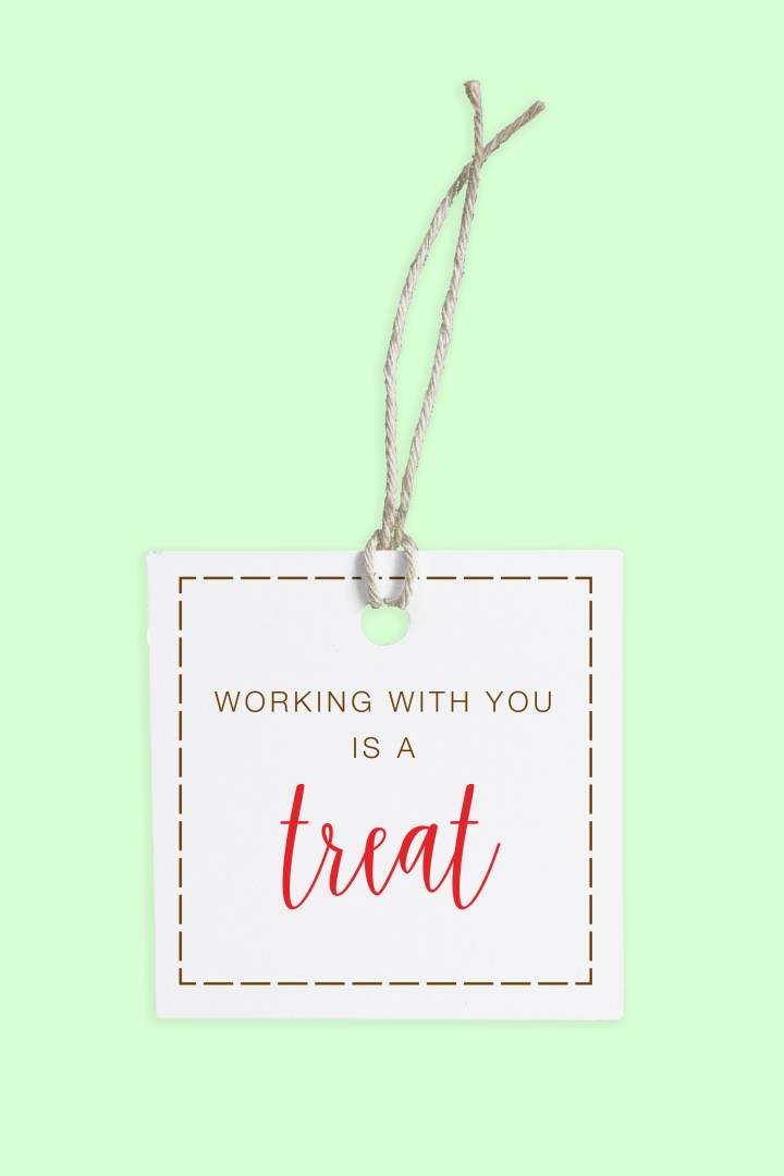 Working with You is a Treat | Free Printable Tags in Red and Nut Brown