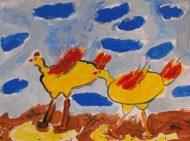 Детска рисунка на пилета.