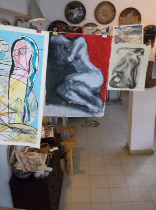 """Част от изложбата """"Рисунки на килограм"""""""