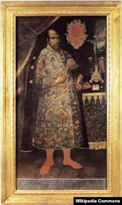 Посмертний портрет стародубського полковника Михайла Миклашевського для Видубицького монастиря. Колір його герба – червоний