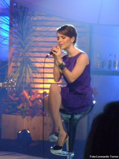 Sandy na gravação do DVD