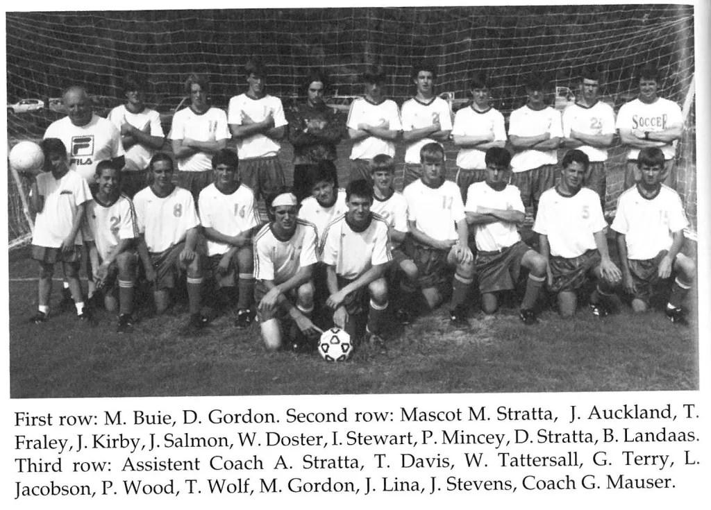 Varsity boys soccer in 1996