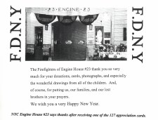 A thank you from Engine 23 in NYC to O'Neal for the outpouring of notes, donations and more after 9/11 - conducted by the ONVO.