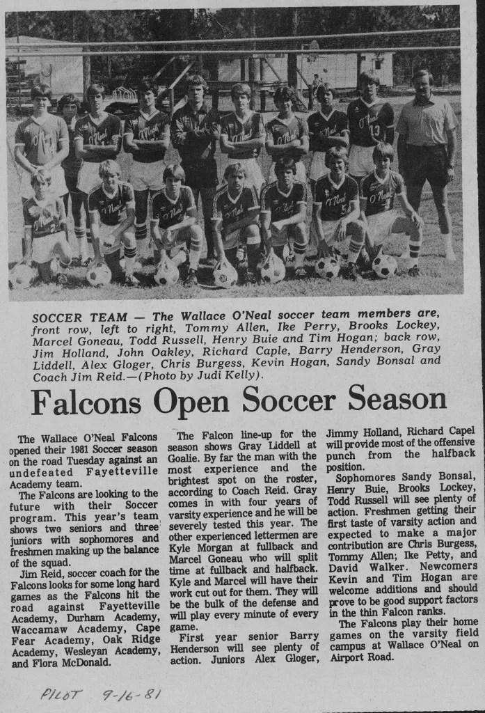 Varsity Boys Soccer in 1981