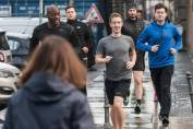 Mark Zuckerberg with security