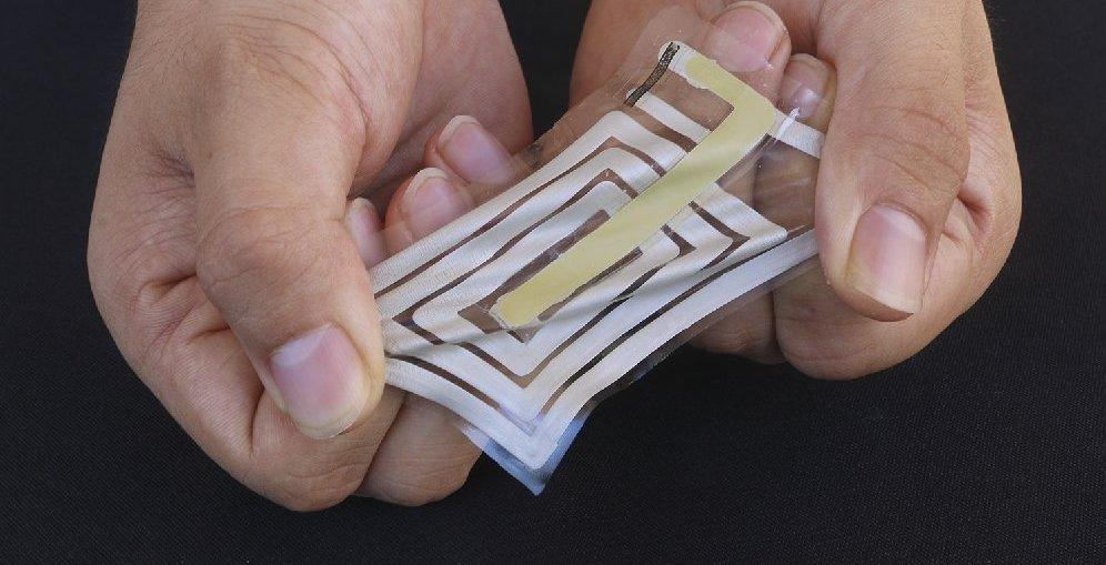Stanford University researchers developed stick-on sensors to monitor human body