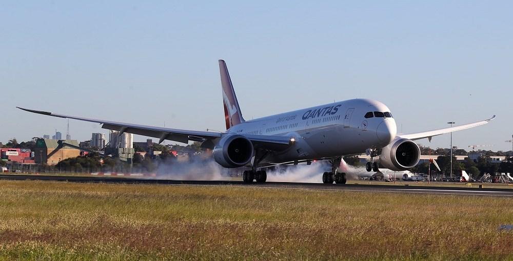 Qantas Airways flight QF 7879 makes landing in Sydney on Sunday