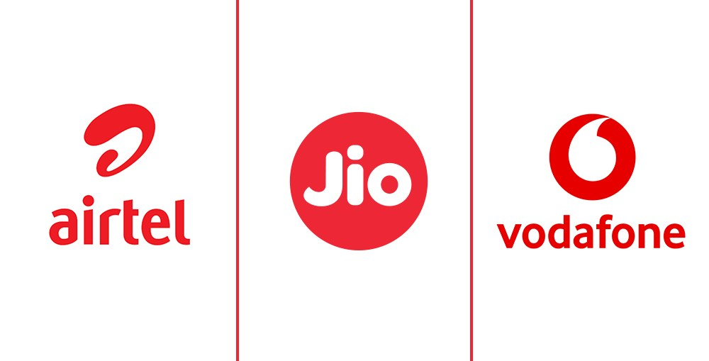 Airtel, Reliance Jio, and Vodafone