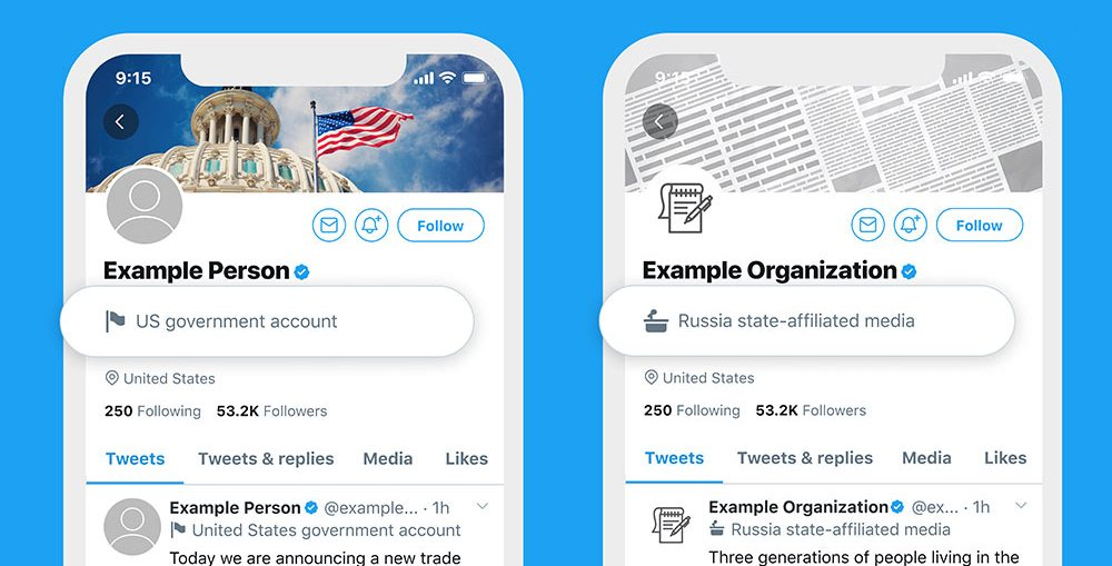 Twitter labels state-affiliated and government accounts