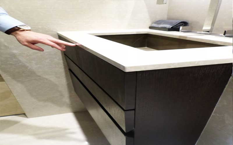 Dark wood bathroom vanity unit