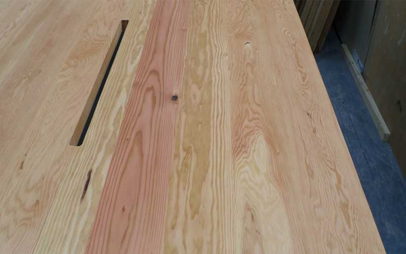 Unpolished hardwood table top