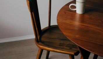 Custom made wood table and chair