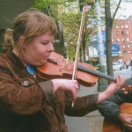 Martha Weiss, playing her violin