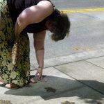 Brigid Hagan placing Vern Lindsay's Leaf