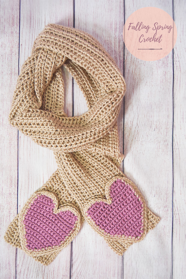 Falling Spring Crochet Scarf with Heart Shaped Pockets Crochet Pattern Free