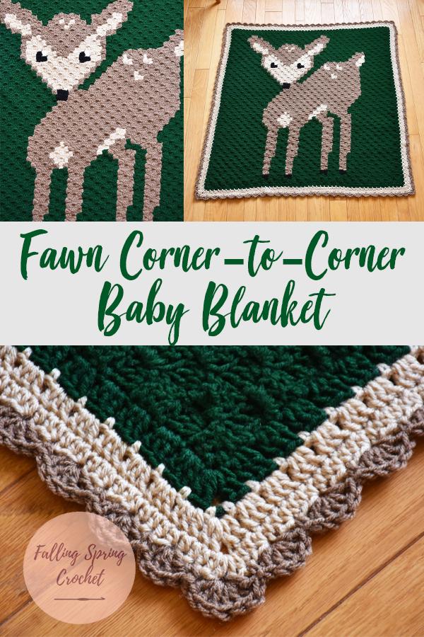 Fawn Corner to Corner Baby Blanket Pinterest Image