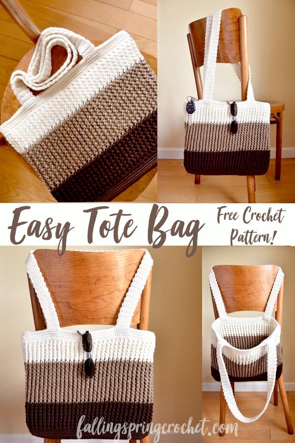 Falling Spring Crochet Easy Tote Bag Crochet Pattern Image