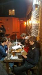 Falmouth students drawing in the pub after the the Illustration Forum
