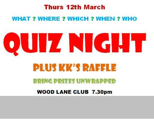 7:30 12 March Quiz Night