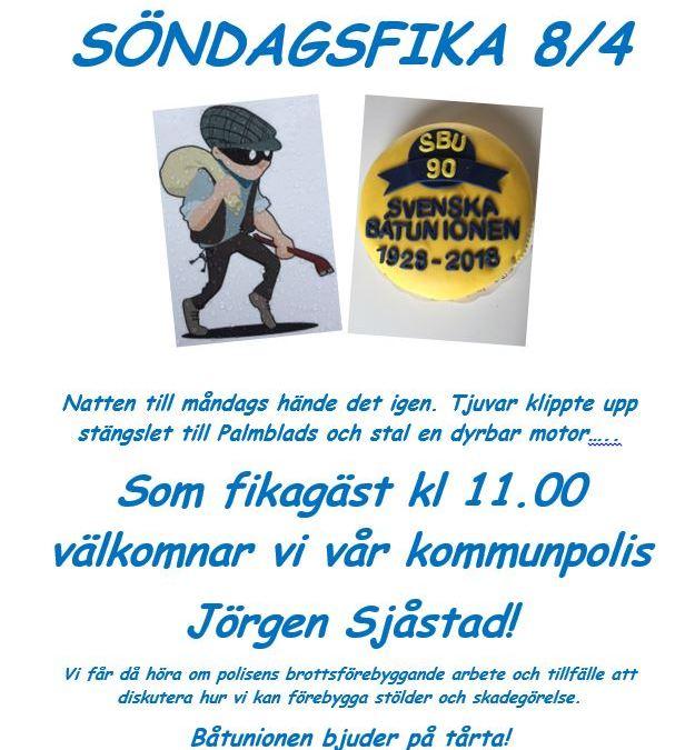 Kommunpolis på besök söndag 8/4 kl 1100