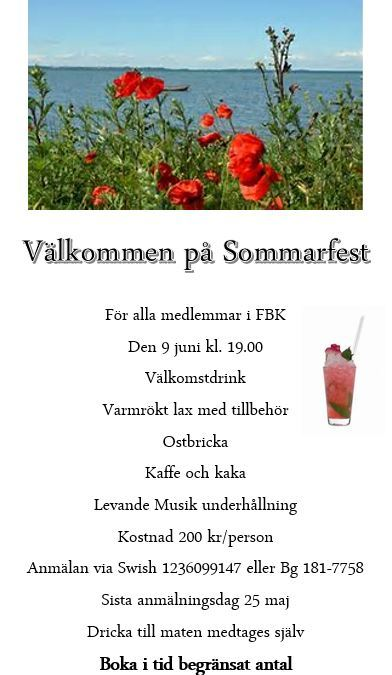 Sommarfest 9:e juni Välkomna!