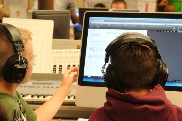 Students Share Ideas While Writing Music For The Composition Project
