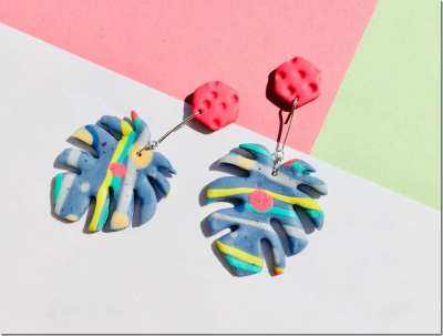 Fashionista NOW: Let Your Ears Radiate Colors With These Vivid Monstera Leaf Earrings
