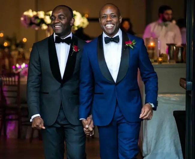Kenneth Moton and husband Brandon Jones on wedding day