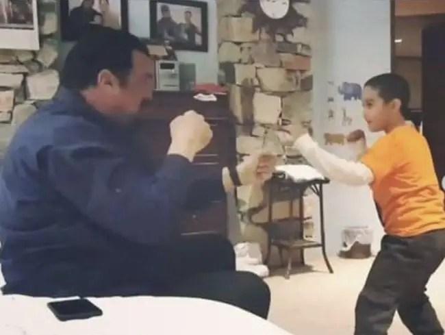 Kunzang Seagal practicing combat with dad Steven Seagal