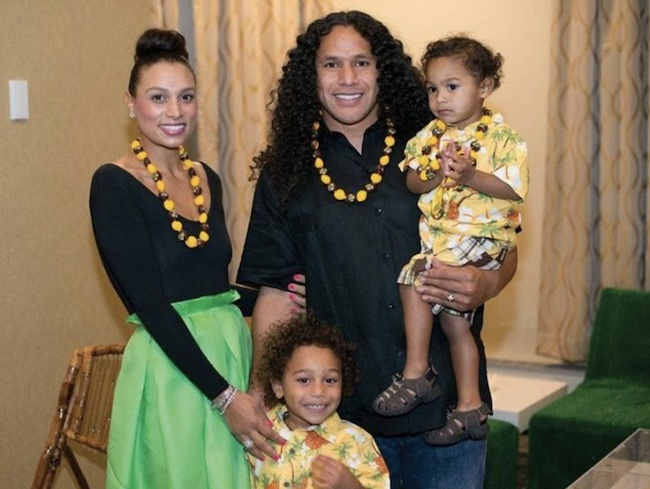 Theodora Holmes with husband Troy Polamalu and sons