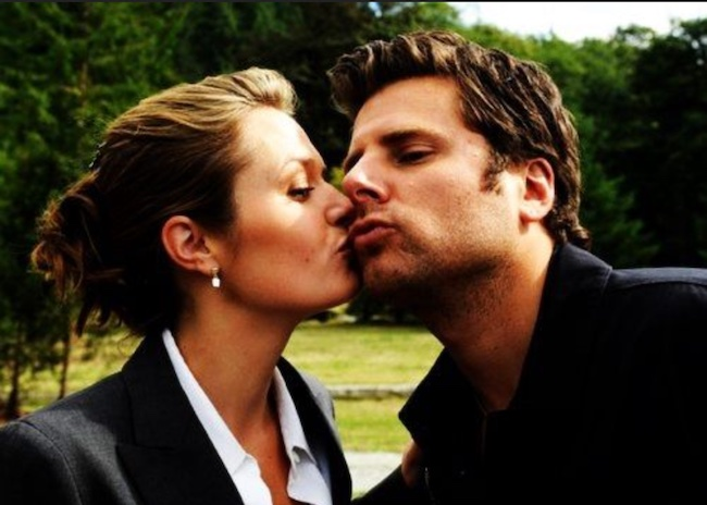 James Roday and Maggie Lawson kissing