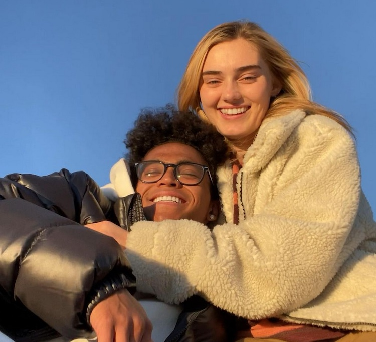Meg Donnelly hugging Noah Zulfikar