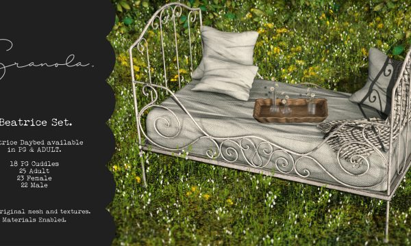 Beatrice Set.  Daybed PG: L$249 each.  Daybed Adult: L$399 each. Vases & Tray: L$199.