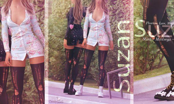 Suzan. Dress is L$249 each / Boots is L$279 each. Dress - 30 Patterns is L$1,350. 25 Colors is L$1,250. Boots - 25 Colors is L$1,150.